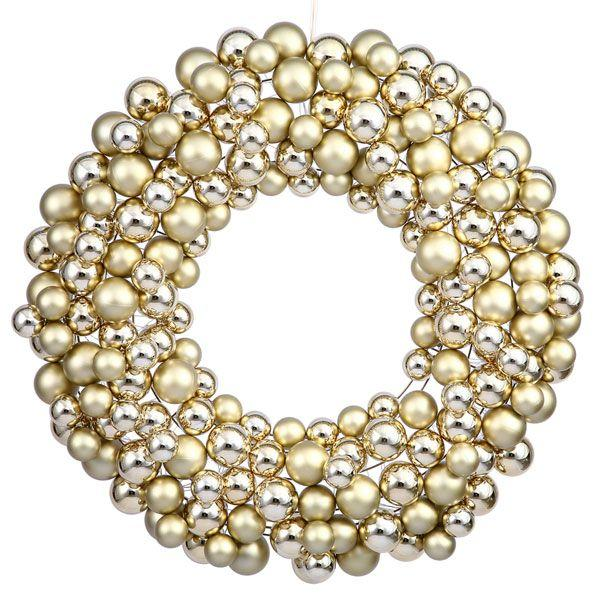 Corona de bolas plata y oro