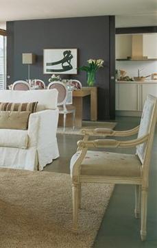 Salón gris y beige