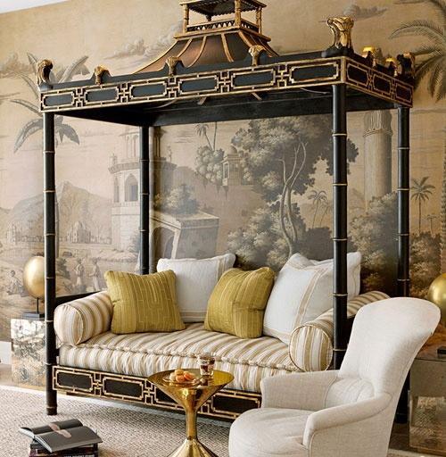 Sofá, realizado con una cama oriental