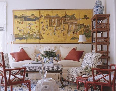 Biombo oriental y muebles de caña