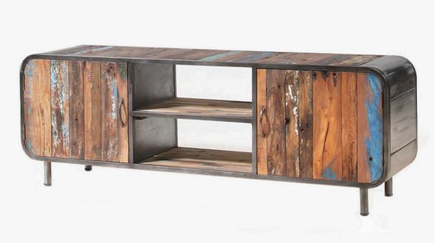 Mueble para tv rústico y colorido