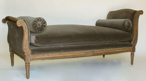 Chaise longue clásica, estilo imperio,