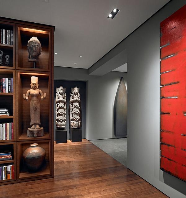 Salón moderno, con imágenes orientales