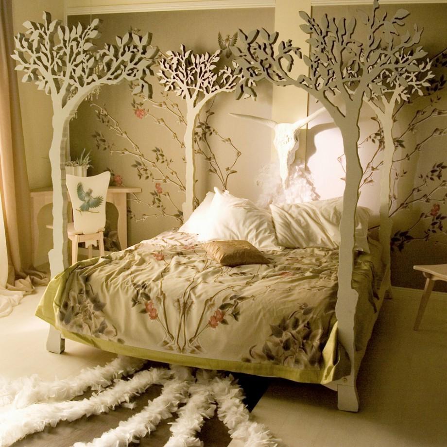 cama con dosel de rboles tallados en madera
