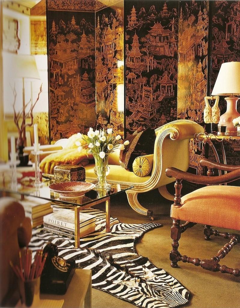 Biombo negro, con pagodas orientales en oro