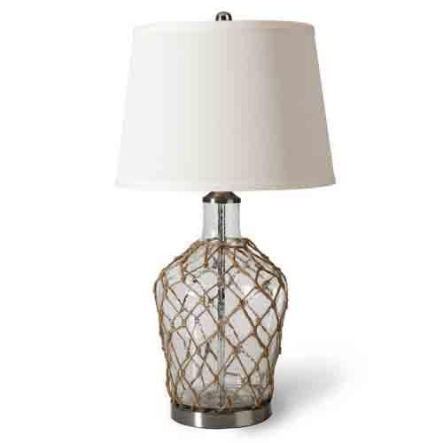 Lámpara de mesa, con cristal y cuerda.