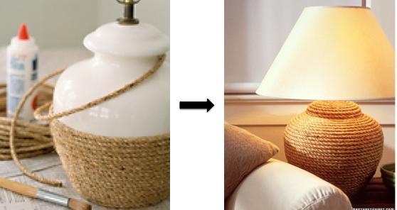 Lámpara de cuerda, fácil y muy vistosa.