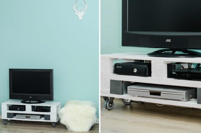 Mueble para tv blanco con palets y ruedas