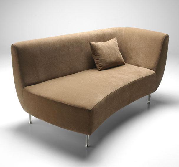 Chaise longue, en terciopelo café