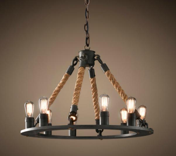 Lámpara de techo, con cuerda y metal.