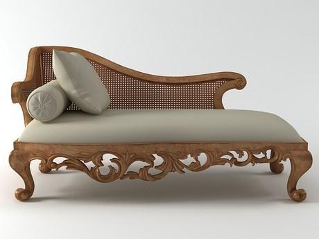 Chaise longue, con base de madera tallada