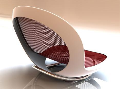 Mecedora blanca con asiento color rojo