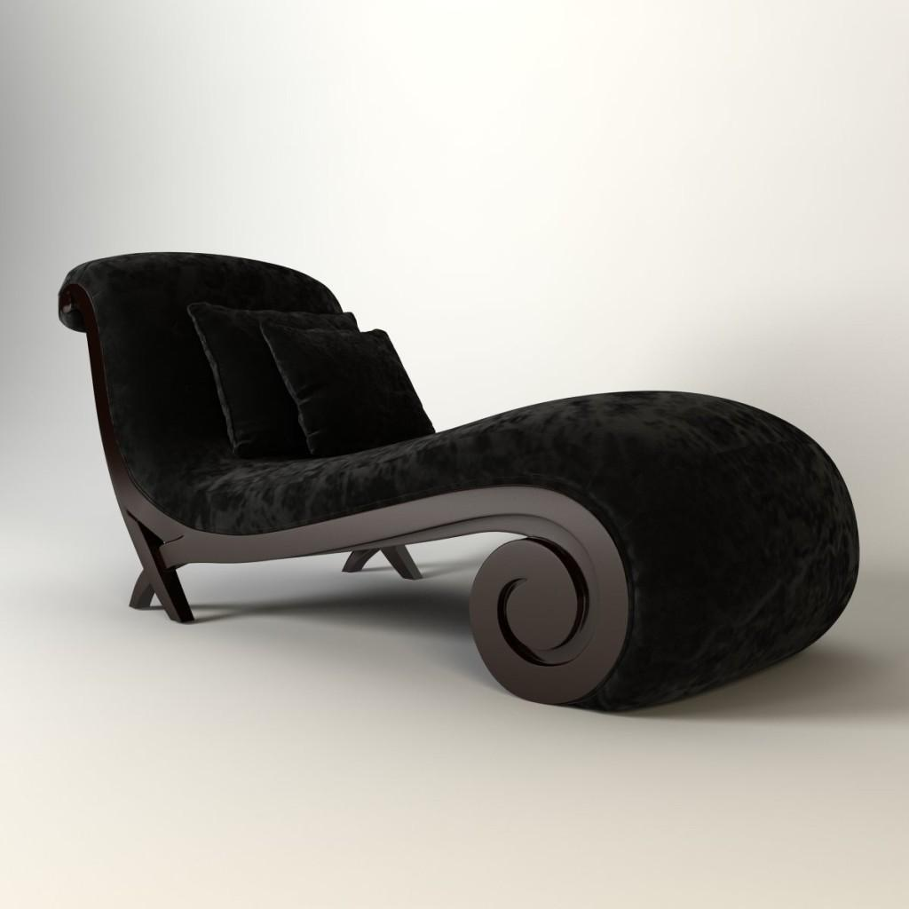 Chaise longue moderna, en terciopelo negro.