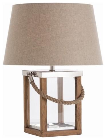 Lámpara de madera acero y cristal, con asa de cuerda