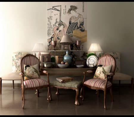 Arte japones en un salón clásico.