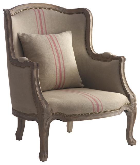 Con un motivo a rayas, esta tela de saco, del cojín y del sillón clásico