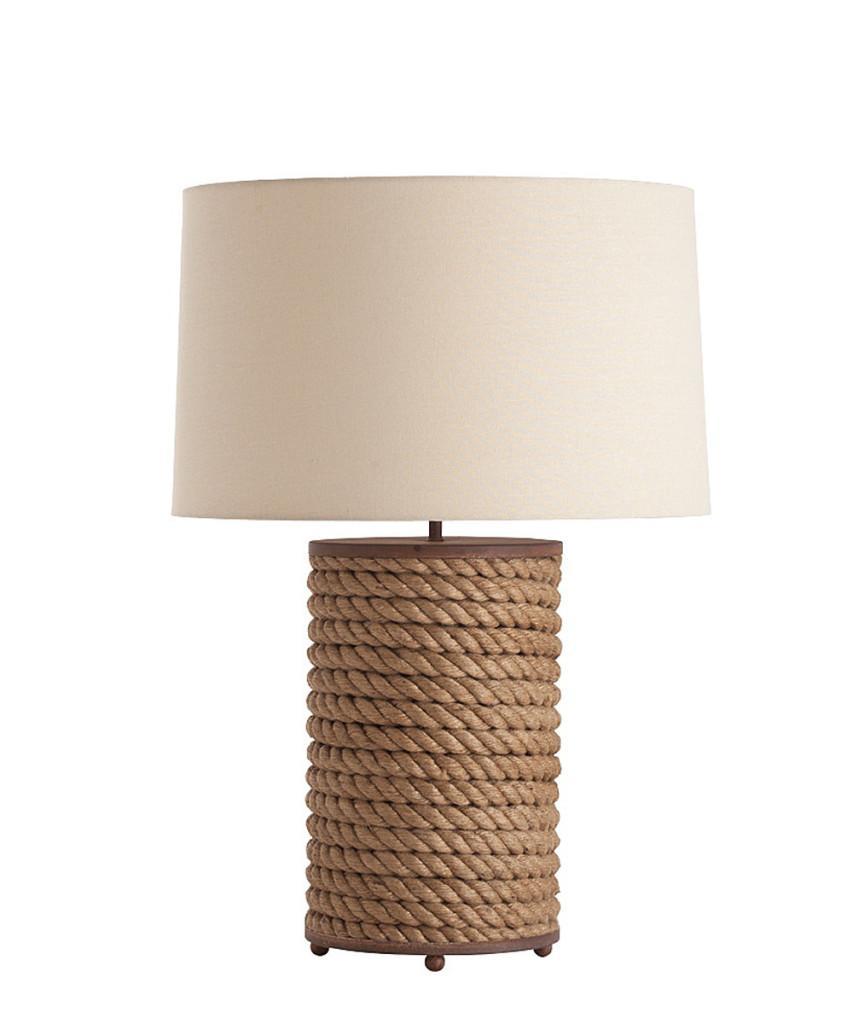 Lámpara de mesa, con pie de cuerda y madera.