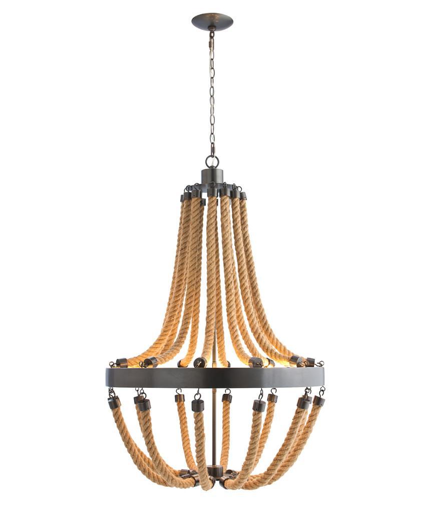 Lámpara de techo de cuerda y metal.
