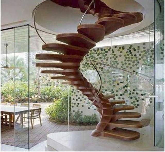 de madera en espiral - Escaleras Voladas