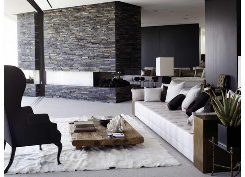 15 salones en blanco y negro - Salones decorados con piedra ...
