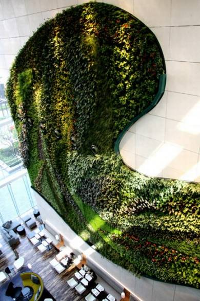 Asia's largest indoor vertical garden within its lobby. French botanist and