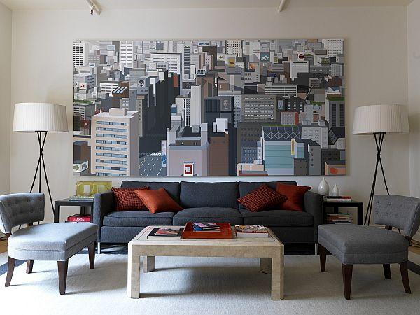 Una pintura de gran formato sobre el sofá.