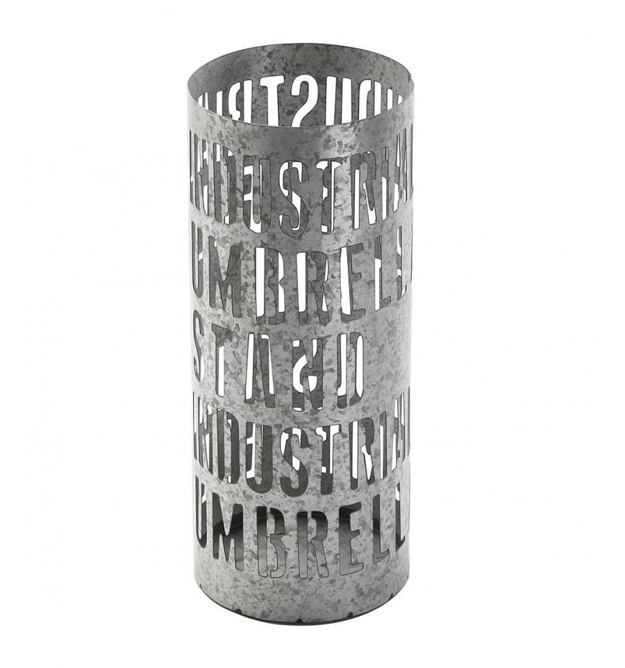 Industrial, de metal galvanizado con textos.