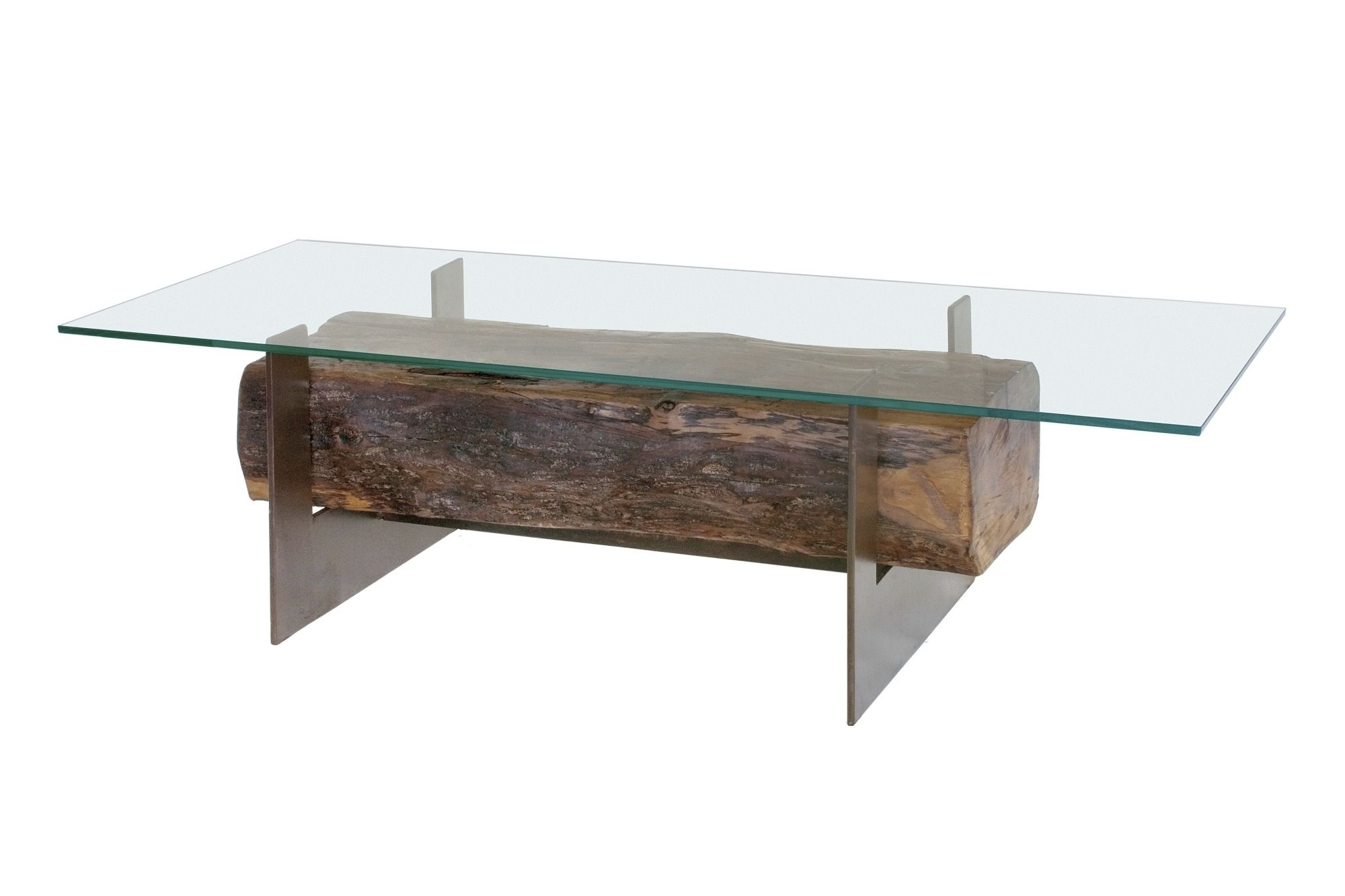 Mesas de madera reciclada - Mesa de cristal y madera ...