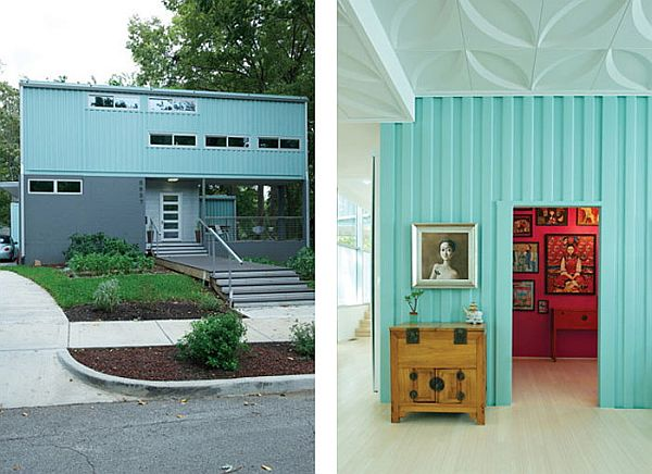 Una casa de dos plantas con contenedores.