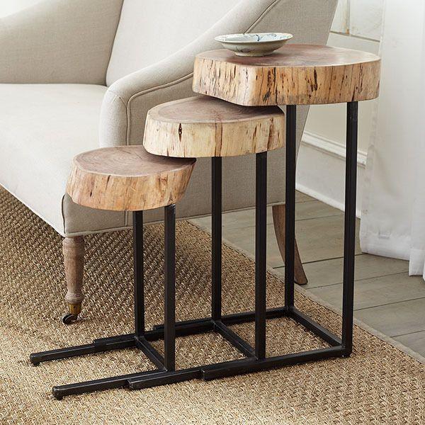 tro de mesas auxiliares de madera y metal