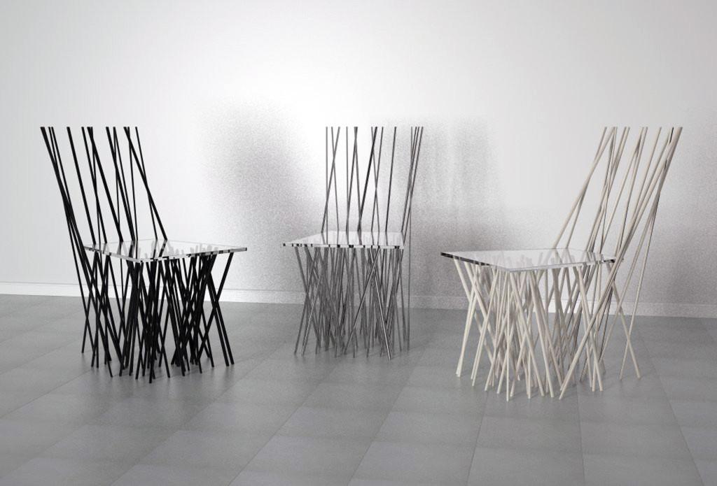 Diseño de sillas de metal y metacrilato.