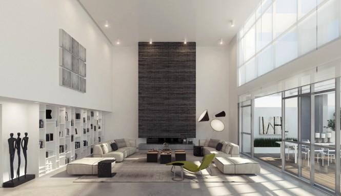 Un gran salón decorada con blanco, negros y grises.
