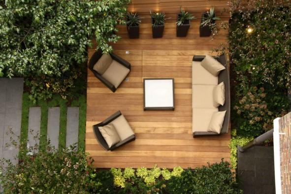 Vista cenital de un salón de jardín.