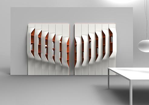 Diseño futurista de estantería.