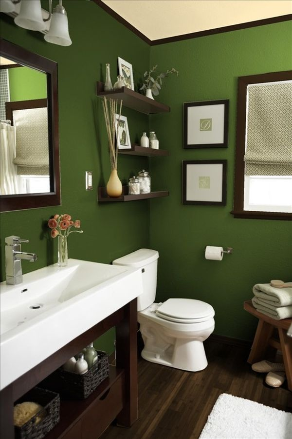 Baños Color Verde Oscuro:Dark Green Bathroom