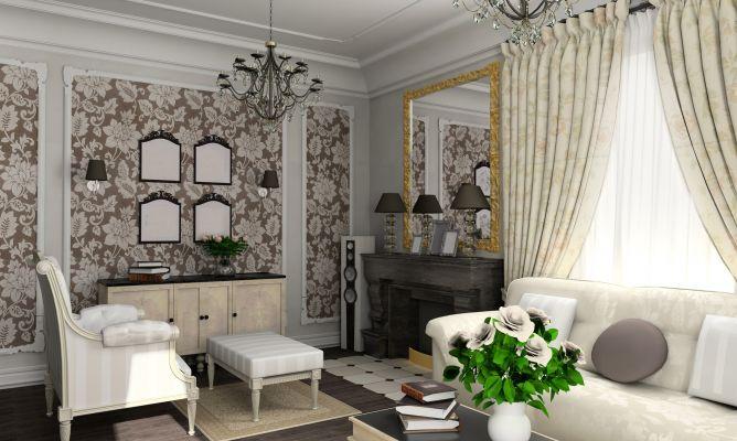 Elegante salón con mobiliario de estilo vintage.