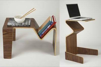 Diseño, en chapas de maderas curvadas.