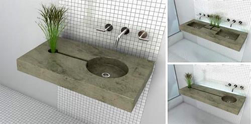 Un original diseño de lavamanos ecológico.