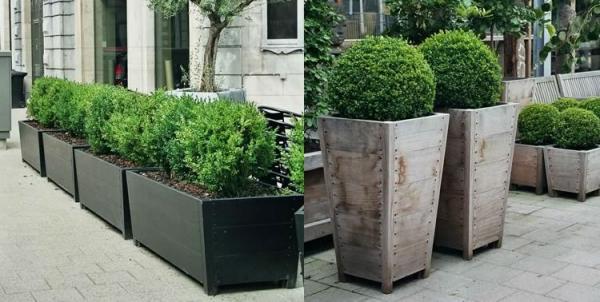 Maceteros de madera reciclada.