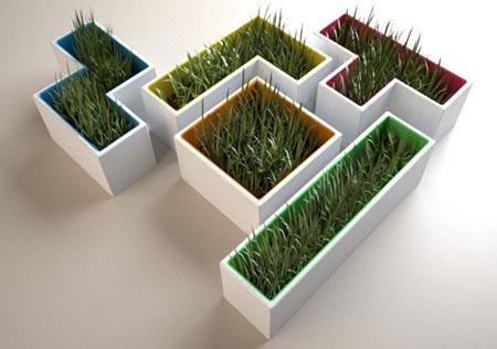 Estos maceteros con formas de piezas de Tetris.