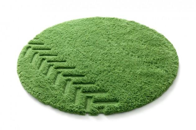 Alfombras calor y dise o a ras de suelo for Alfombra redonda verde