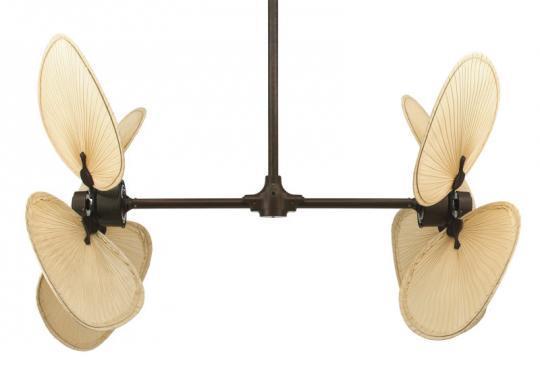 Modelo con doble rotor de aspas de bronce  y palisandro y palas de palmera natural.