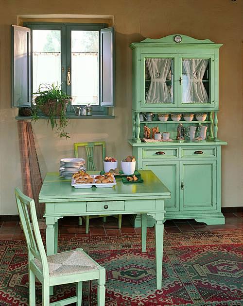 Con un típico tono verde del estilo campestre.