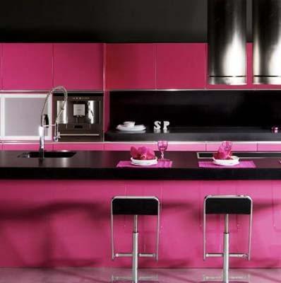 Cocinas modernas viva el color for Cocinas de color rosa