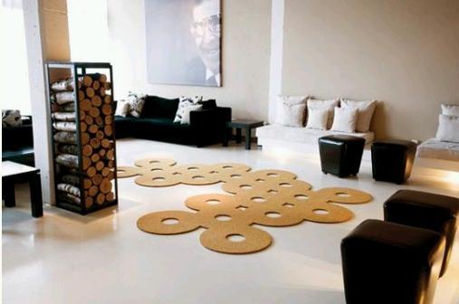 Original alfombra con círculos.