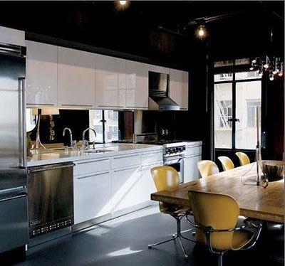 Techos pintados de tonos oscuros for Cocinas con espejos