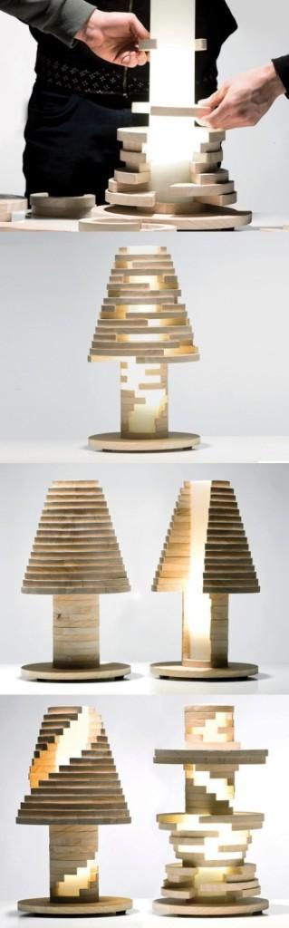 Modelo formado por piezas de madera.