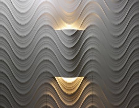 Placas con ondas en relieve y lámpara incorporada.