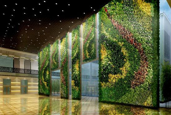Espectacular ornamentación con plantas artificiales.