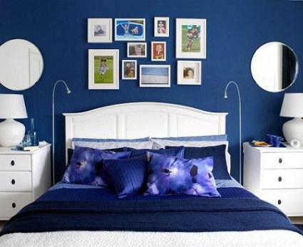 Paredes en azul elegante y sofisticado for Dormitorio gris y blanco
